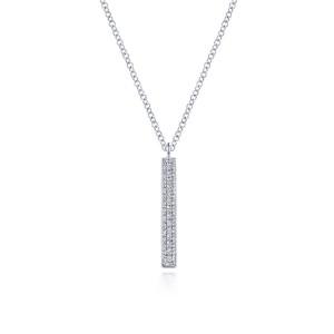 14K White Gold Diamond Drop Pendant Necklace