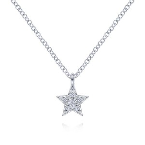 14K White Gold Diamond Star Pendant Necklace