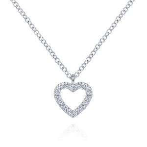 14K White Gold Open Heart Diamond Pendant Necklace