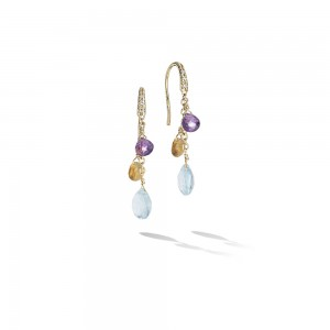 Marco Bicego Paradise 3 Mixed Gemstone Dangle Earrings with Diamonds