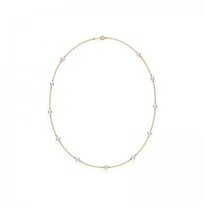 Mikimoto Akoya Pearl Station Necklace with 18K Yellow Gold 18