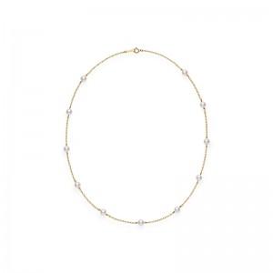 Mikimoto Yellow Gold Lady'S Yellow 18 Karat Strand With 11=5.50Tw Round Pearls