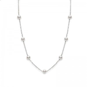 Mikimoto White Gold Necklace With 11=5.50Mm Round Pearls Length 18