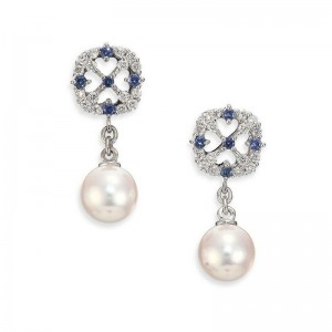 Mikimoto 18 karat Akoya pearl A+ quality, diamond and sapphire dangle earrings