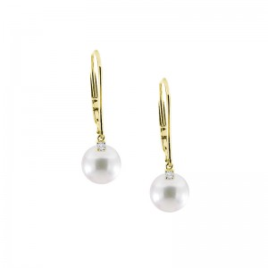 Mikimoto 18 karat yellow gold diamond and Akoya pearl earrings.
