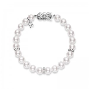 Mikimoto White Gold Bracelet With 23 Round Akoya Cultured Pearls A 7.5X7Mm & 3 Diam Rondells 0.45 Cts 7