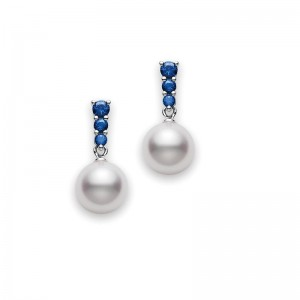 Mikimoto White Gold Lady'S White 18 Karat Pearl Earrings With2 Round Akoya Cultured Pearls Aa+ 8Mm & 6 Round Sapphires