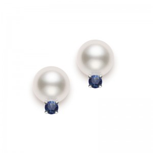 Mikimoto White Gold Cultured Pearl Stud Earrings 7.5-8Mm A+