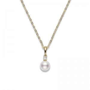 Mikimoto Yellow Gold Akoya Cultured Pearl Pendant 7-7.5Mm Aa & 1 Round Diamond .05Cts G Vs2