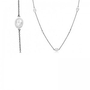 Rhodium & Black Plated Signature Raindrop Station Necklace