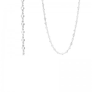 Rhodium Plated Embellished Wrap Chain Necklace