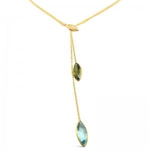 Green Tourmaline & Aquamarine Adjustable Necklace
