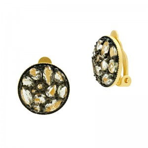 Rose D'or Rosecut Disc Clip-On Earrings