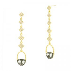 Rose D'or Long Drop Earrings