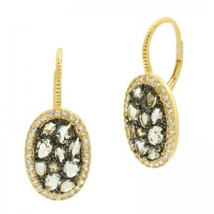 Rose D'or Rosecut Stone Lever Back Earrings