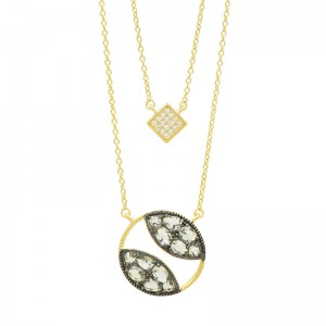 Rose D'or Double Pendant Necklace