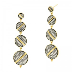 Textured Ornaments Sliced Linear Drop Earrings