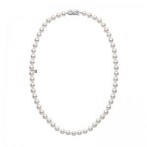 Mikimoto White Gold Choker With 60 Round Akoya Cultured Pearls A 6.5 X 6Mm 16