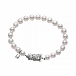 Mikimoto White Gold Bracelet With 24 Round Akoya Pearls 6.5X6Mm A 7