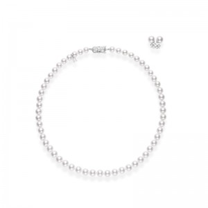 Mikimoto White Gold 2 Pc Akoya Set Necklace 7X6Mm A1 18