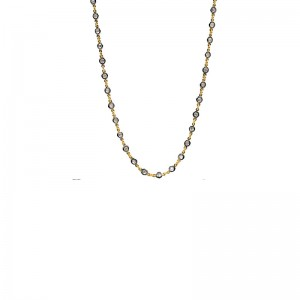 Vermeil & Black Plated Embellished Wrap Chain Necklace