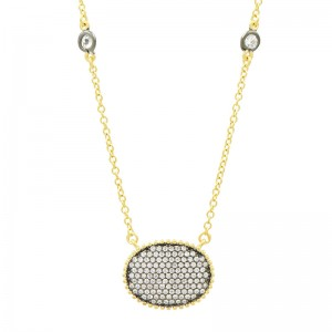 Signature Pave Oval Disc Pendant Necklace