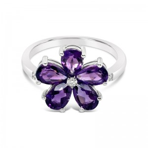 Amethyst & Diamond Flower Ring