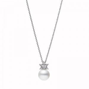 Mikimoto Classic Akoya Pearl and Diamond Pendant Necklace