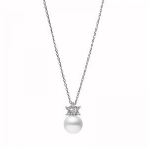 Mikimoto Classic Akoya Pearl and Diamond Pendant Necklace