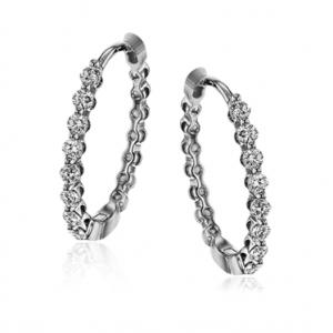 18k White Gold Simon G Hoop Earrings LE4546