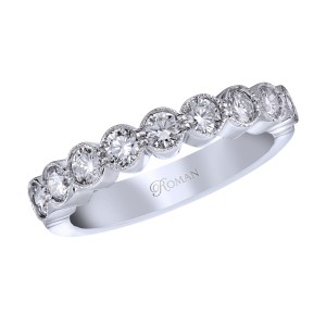 Romanza diamond band with milgrain