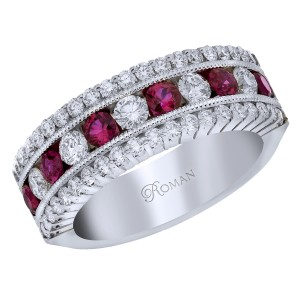 Romanza Ruby Diamond Anniversary Band
