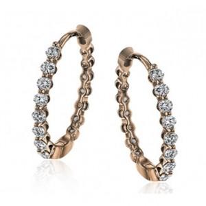 18K Rose Gold Simon G Hoop Earrings