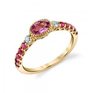 18 K Pink Sapphire & Diamond Ring