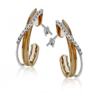 18K Gold Two-Tone Earring
