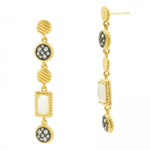 Gilded Cable Station Drop Earrings